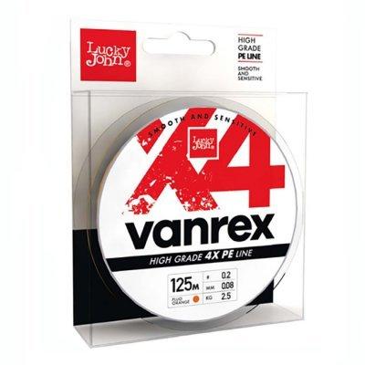 Плетенка Lucky John Vanrex X4 Fluo Orange 125м, ярко-оранжевая
