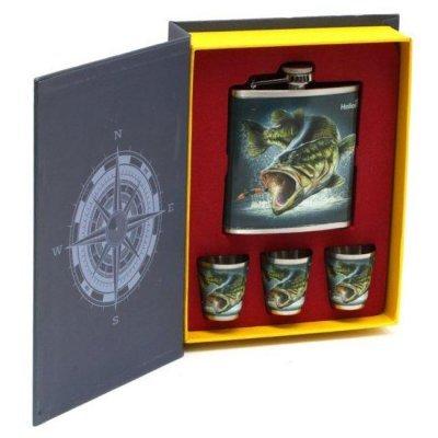Набор Helios Книга Рыбака (фляжка 210мл + 3 стопки)