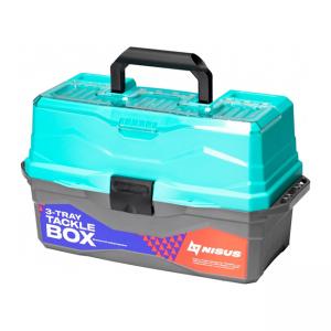 Ящик для снастей трехполочный Nisus Tackle Box, бирюзовый