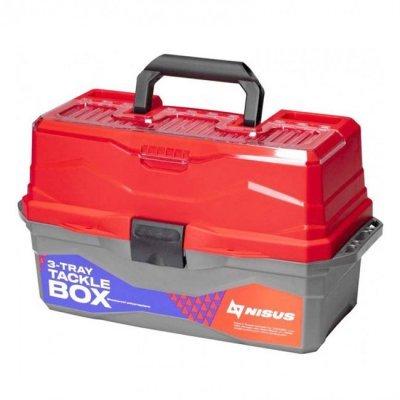 Ящик для снастей трехполочный Nisus Tackle Box, красный