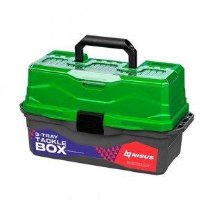 Ящик для снастей трехполочный Nisus Tackle Box, зеленый