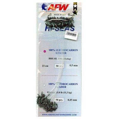 Флюорокарбоновый поводок AFW Hi-Sea Fluorocarbon Leader, L-23см, D-0.5мм