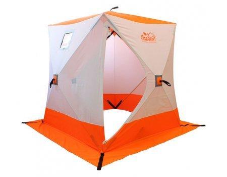 Палатка зимняя Следопыт КУБ 4 бело-оранжевая, 2.1x2.1x2.14м