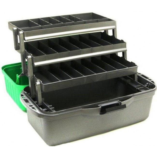 Ящик рыболовный трехполочный Nisus Fishing 3-tray box green (N-FB-3-G), зеленый