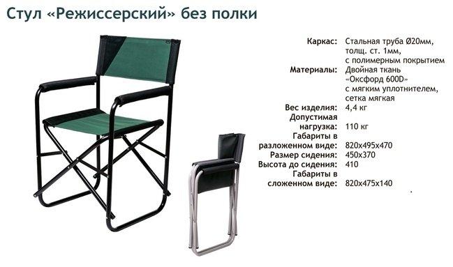 Стул складной Vitan Режиссёрский без полки